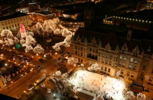 Bird's eye view of Rice Park, Landmark Center and Ice Rink