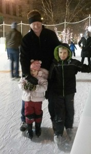 Family picture ice skating