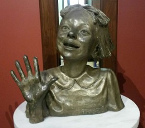 A bust statue of Ramona, a favorite children's character
