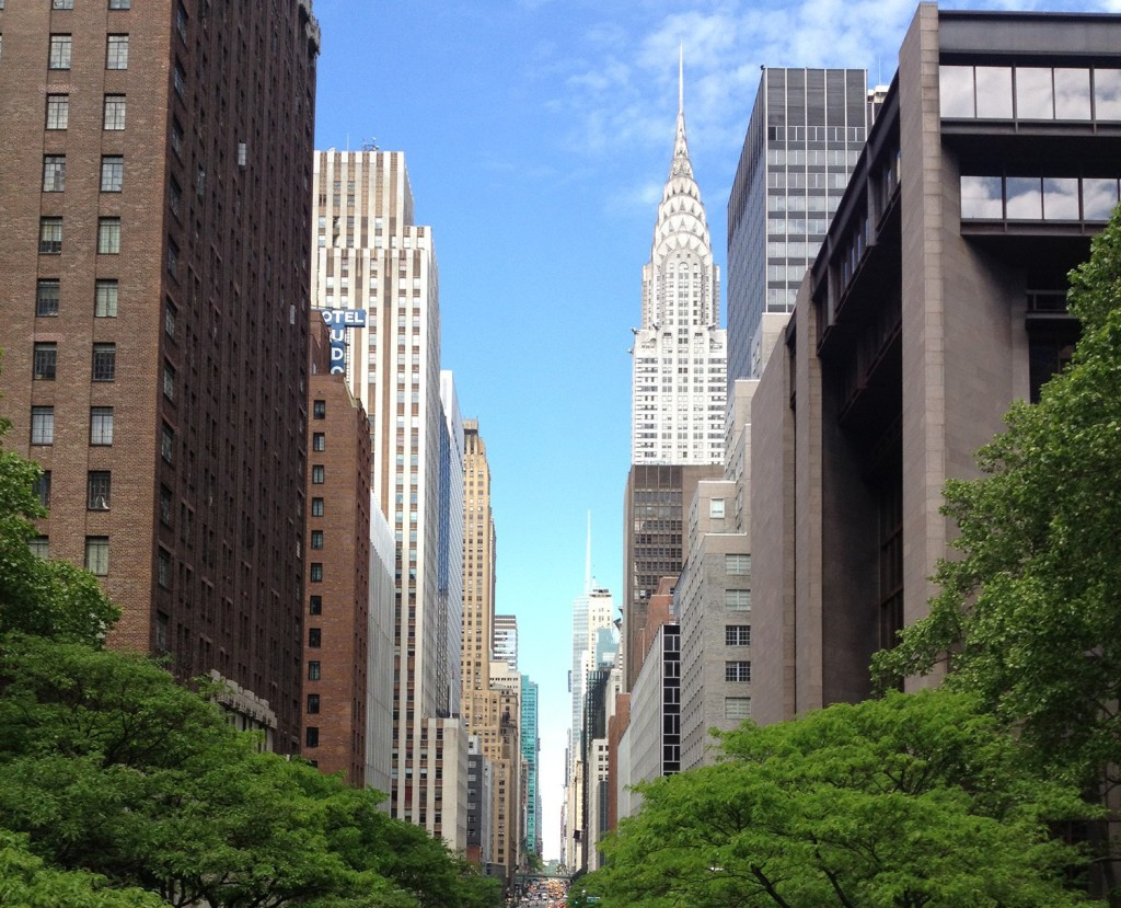 New York city street with high-rises on either side
