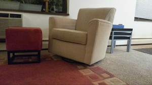 Our swivel chair is one piece of furniture for 3 rooms--kitchen, dining and living room.