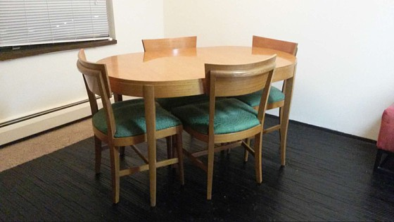 Mid Century Table Over Temporary Bamboo Floors Over Carpet.