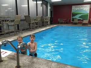 Kids swimming at our apartment indoor pool.