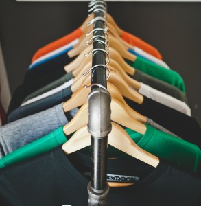 Simply matching hangers in closet adds style.