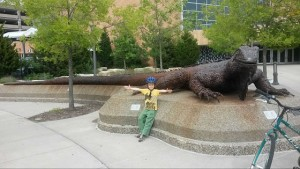 The big iguana outside the Science Museum of Minnesota.