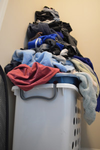 Piles of dirty laundry.