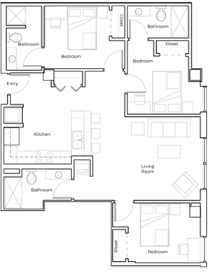 Floor plan from new student housing in Rochester, MN.