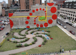Birds eye view of Pedro Park in downtown St. Paul.