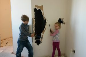Kids doing demo, finding hidden usable space.